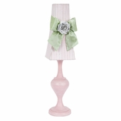 Pink Stripe with Modern Green Sash Tower Shade and Light Pink Rose Magnet on Large Curvature Pink Lamp