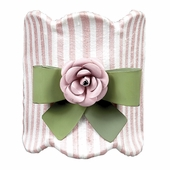 Pink & White Stripe Night Light with Green Bow & Light Pink Rose Magnets