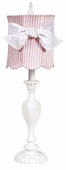 Pink & White Stripe Scallop Drum Shade on Large Curvy Candle White Lamp