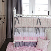 Pink & White Sweet Lace Damask Crib Bedding