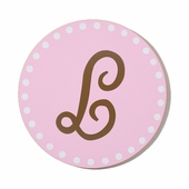 Polka Dot Initial Custom Round Wood Sign