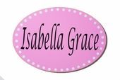 Polka Dot Name Custom Oval Wood Sign