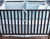 Pool Olivier Plump Crib Bumper with Silver Gilles Piping