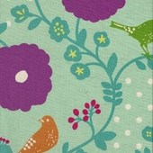 Poppy Birds Aqua Fabric