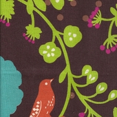 Poppy Birds Chocolate Fabric