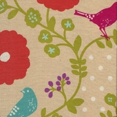 Poppy Birds Melon Fabric