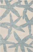 Powder Blue Starfish Reverse Escape Hand-Tufted Rug