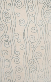 Powder Blue Swirls Reverse Escape Hand-Tufted Rug