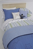 Preppy Stripe Blue Duvet Cover