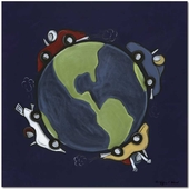 Race Around the World Gallery Wrapped Stretched Giclee Canvas