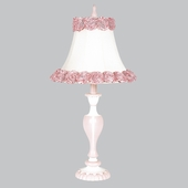 Ring of Roses Shade on Large Curvy Candle Pink & White Lamp