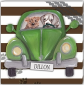 Road Trip on Brown Stripes Personalized Gallery Wrapped Stretched Giclee Canvas