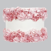 Rose Garden Off-White with Pink Large Drum Lamp Shade