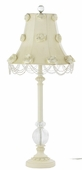 Rose Swag Ivory Shade on Large Single Glass Ball Ivory Lamp