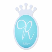 Regal Crown Monogram Plaque in White