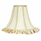 Ruffled Bell-Shape Ivory with Sage Trim Large Lamp Shade