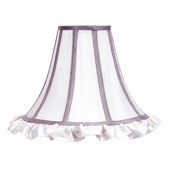 Ruffled Bell-Shape White with Lavender Trim Large Lamp Shade