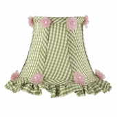 Ruffled Edge Green Check Chandelier Shade