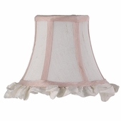 Ruffled Edge White & Pink Chandelier Shade