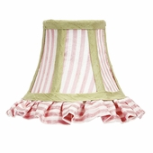 Ruffled Pink & White Stripe Chandelier Shade with Sage Trim
