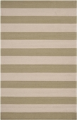 Sage Green Stripe Rain Hand-Hooked Outdoor Rug