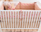 Sand Colette Plump Crib Bumper with Natural Trim