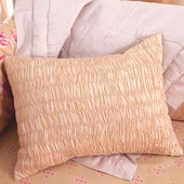 Sand Colette Smocked Decorative Boudoir Pillow in Sand Bianca with Trim