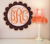 Scalloped Edge Fancy Monogram Custom Personalized Wall Decal