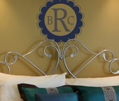Scalloped Edge Monogram Custom Personalized Wall Decal