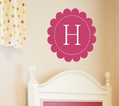 Scalloped Initial Custom Personalized Wall Decal