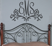Scroll Monogram Custom Personalized Wall Decal