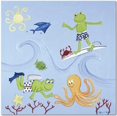 Scuba Frog Gallery Wrapped Stretched Giclee Canvas