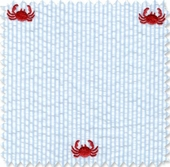 Seersucker Stripe Blue Crab Fabric