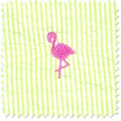 Seersucker Stripe Flamingo Fabric