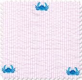 Seersucker Stripe Pink Crab Fabric