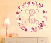 Single Fancy Dots and Circles Initial Custom Personalized Wall Decal