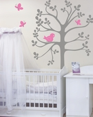 Spring Tree with Bird & Butterflies Custom Wall Decal