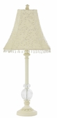 Starburst Ivory Shade on Large Single Glass Ball Ivory Lamp