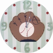 Striped Baseball Wall Clock