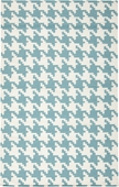 Teal Houndstooth Frontier Hand-Woven Indoor/Outdoor Rug