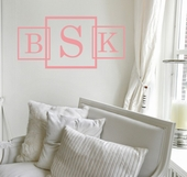 Three Square Fancy Monogram Custom Personalized Wall Decal