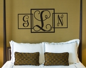 Three Square Monogram Custom Personalized Wall Decal