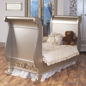Toddler Bed Kit in Antique Silver - Chelsea Sleigh Crib