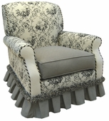 Toile Black Adult Club Glider Rocker Chair - Foam or Down