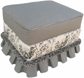Toile Black Adult Continental Ottoman