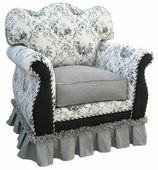 Toile Black Adult Empire Glider Rocker Chair - Foam or Down