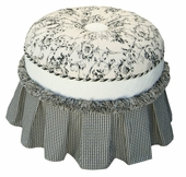 Toile Black Adult Princess Round Stationary Ottoman