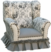 Toile Black Child Wingback Chair