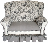 Toile Black Child Wingback Loveseat