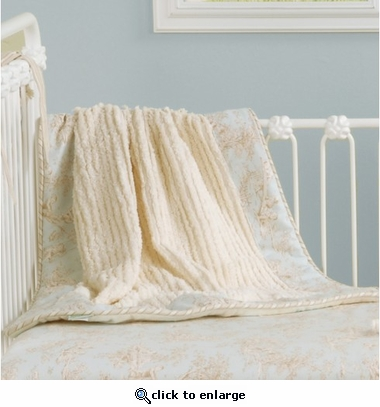 Toile Blue Crib Blanket